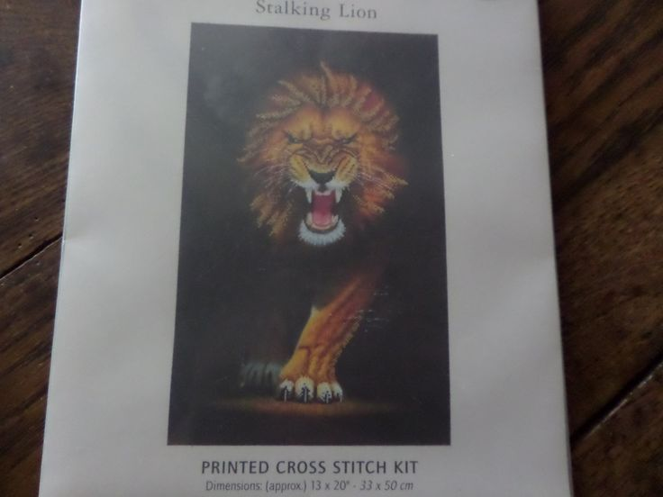 """Cross stitch kit """"Stalking Lion"""" printed canvas by MaddisonsRainbow on Etsy"""