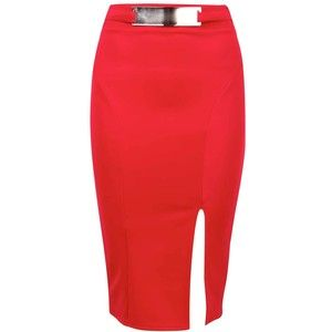 Rosalie Red Pencil Skirt with Gold Belt