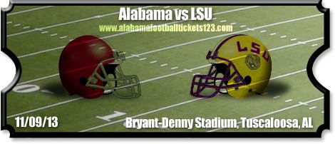 Alabama LSU Game 2013 | Alabama vs LSU Football Tickets | 11/09/13 | Bryant-Denny Stadium ...