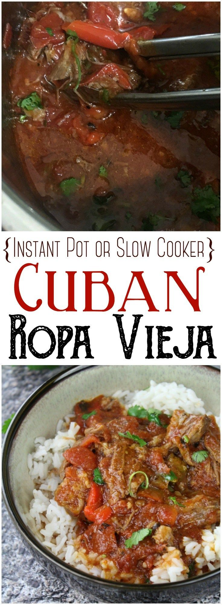 "Ropa Vieja (Instant Pot or Slow Cooker): This flavorful and rich Ropa Vieja cooks up easily in the Instant Pot. This Cuban specialty translates to ""old clothes"" in English, because the shreds of meat, peppers, cilantro and onions give the appearance of colorful rags. #InstantPot #PressureCooker #Cuban #beefrecipes #roast #slowcooker #crockpot"
