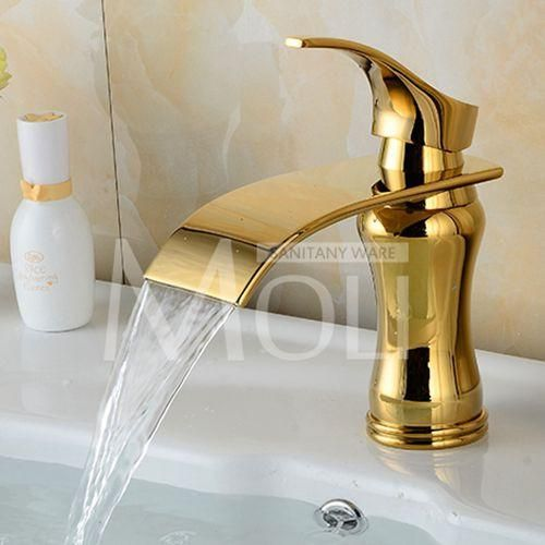 High Quality Solid Brass White Painted Bathroom Faucet Single Lever Single Hole Waterfall Basin Tap Mixer