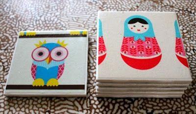 Casa de Retalhos: Porta-copos personalizados ♥ DIY Tile Coasters