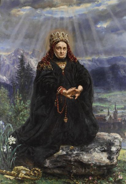 Św. Kinga modląca się pośród sądeckich gór - Jan Matejko