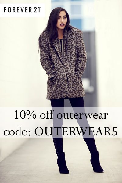Get 10% off coats, blazers, and jackets at Forever21 + cash back!! Use code OUTERWEAR 5 :)