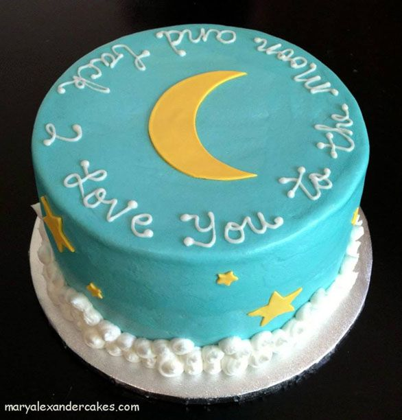 I love you to the moon and back theme cake. From Mary Alexander Cakes in Dallas Texas www.maryalexandercakes.com