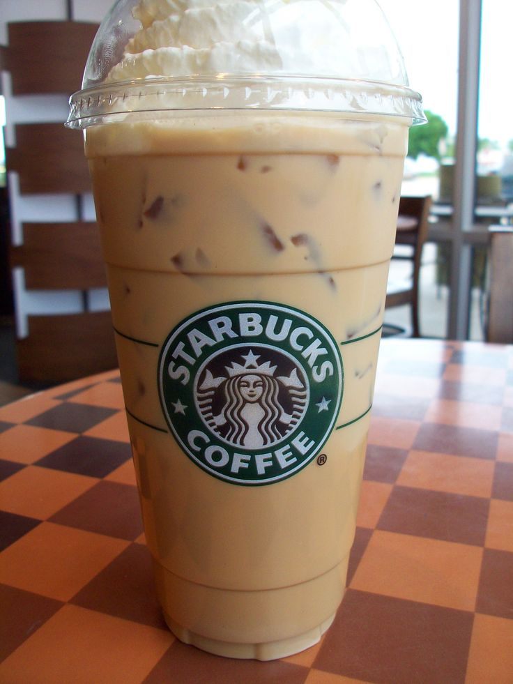 Iced venti Starbucks double shot w/white chocolate, w/whip and a drizzle of caramel