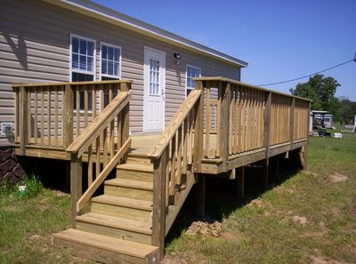Wood Deck With Railing For Mobile Home