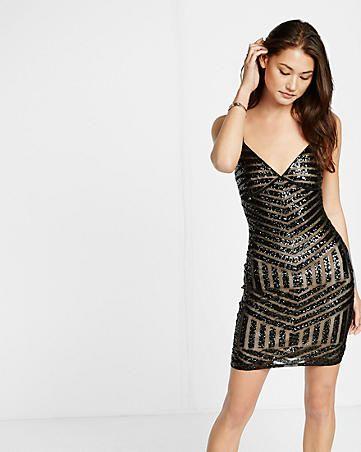patterned sequin slip dress