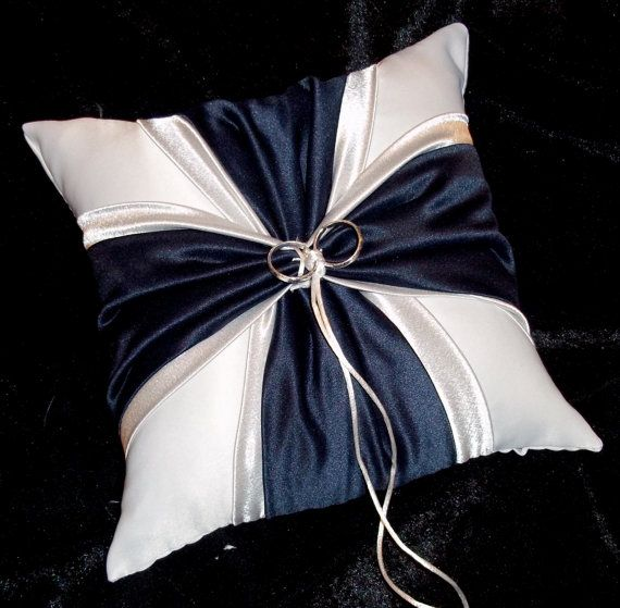 Navy Blue And Silver White or Ivory Wedding Ring Bearer Pillow $25