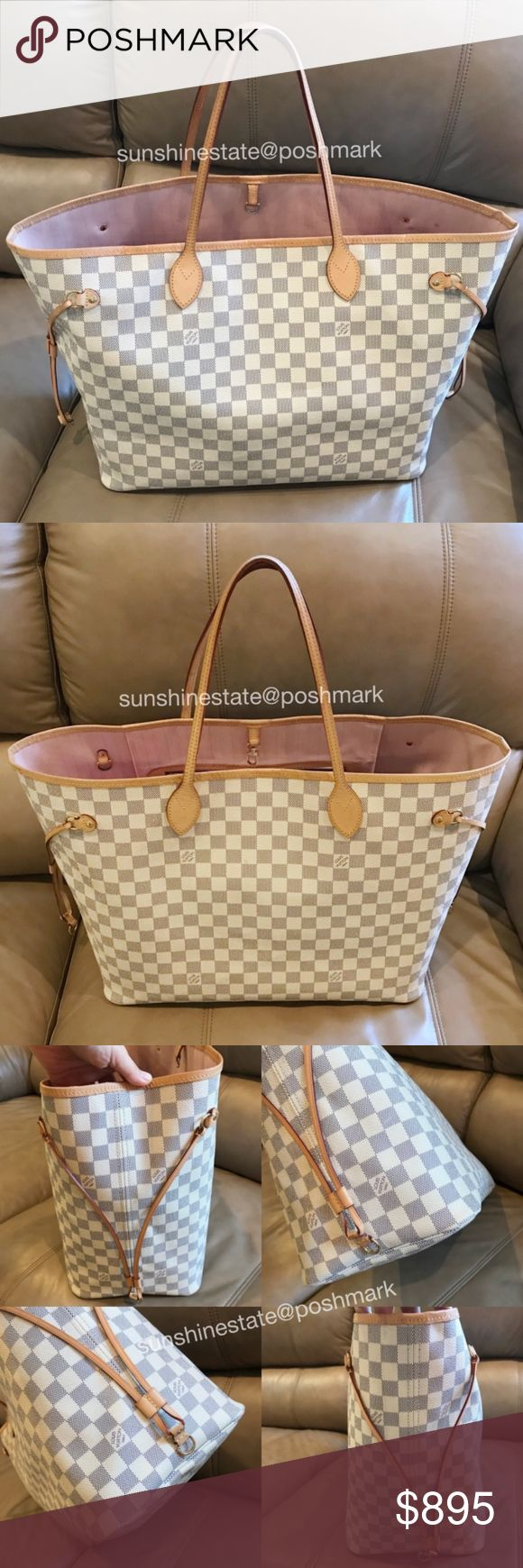 2017 Louis Vuitton Damier Azur Neverfull GM Rose B Authentic Damier Azur Neverfull GM Rose Ballerine Tote, made in 2017 (SD0177), has patina, scratches, water marks, creases, soiled inside from use, pouch is not included. Louis Vuitton Bags Totes