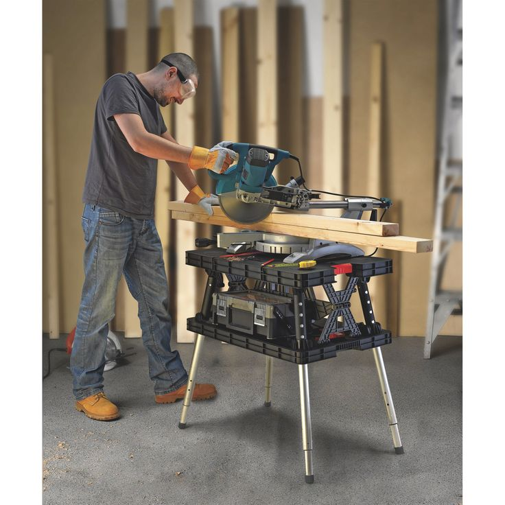 Keter Folding Work Table 750 Lb Capacity With Extendable Legs Model 17209954 Easy Garage Storage Workbench - How To Adjust Keter Table Legs