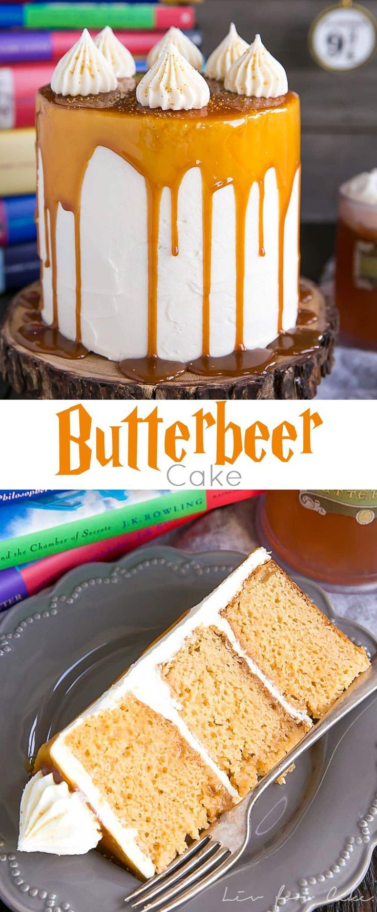 Harry Potter fans, this Butterbeer Cake is for you! Butterscotch, cream soda, and marshmallow all in one spellbinding dessert.   livforcake.com