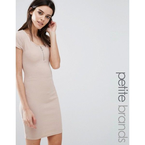 New Look Petite Zip Front 90s Bodycon Dress ($22) ❤ liked on Polyvore featuring dresses, beige, petite, beige dress, zip front dress, bodycon dress, zipper bodycon dress and scoop-neck dresses