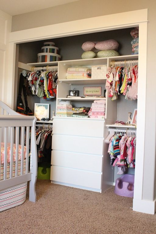 Twin's closet...dresser in the closet to save much needed floorspace for that second crib- would be great for a singleton, too.