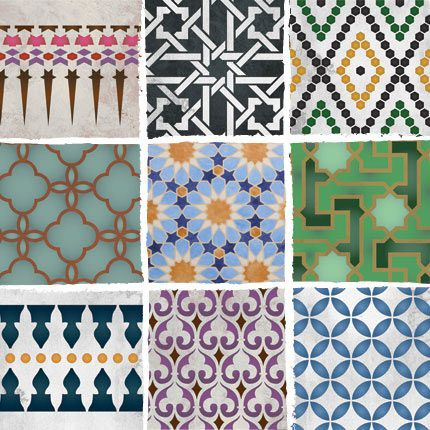 Moroccan stencil patterns and inspiring color combos from Royal Design Studio.: