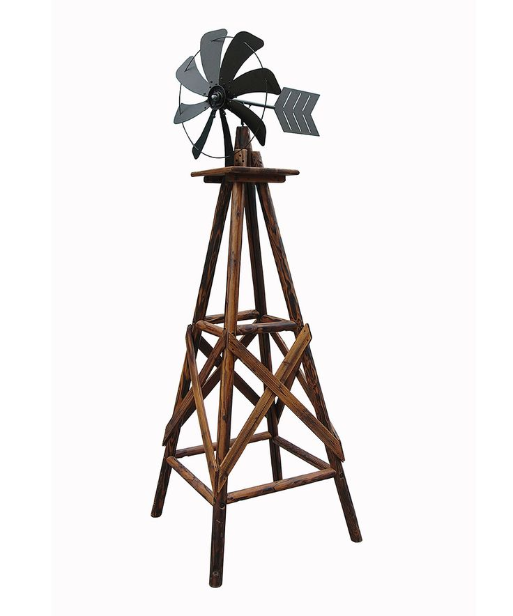 9u0027 Charred Wood Windmill Statue By Leigh Country