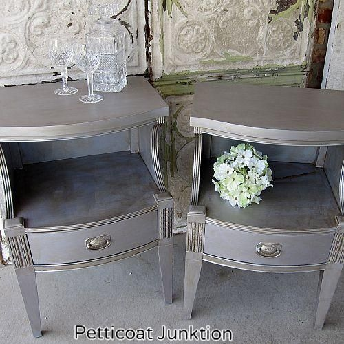 pair of metallic silver nightstands, home decor, painted furniture, Martha Stewart Precious Metals paint and Caromal Colours Toner Petticoat Junktion