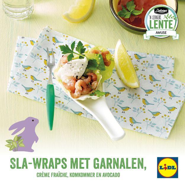 Recept voor sla-wraps met garnalen, crème fraîch, komkommer en avocado #Lidl #Lente #Amuse