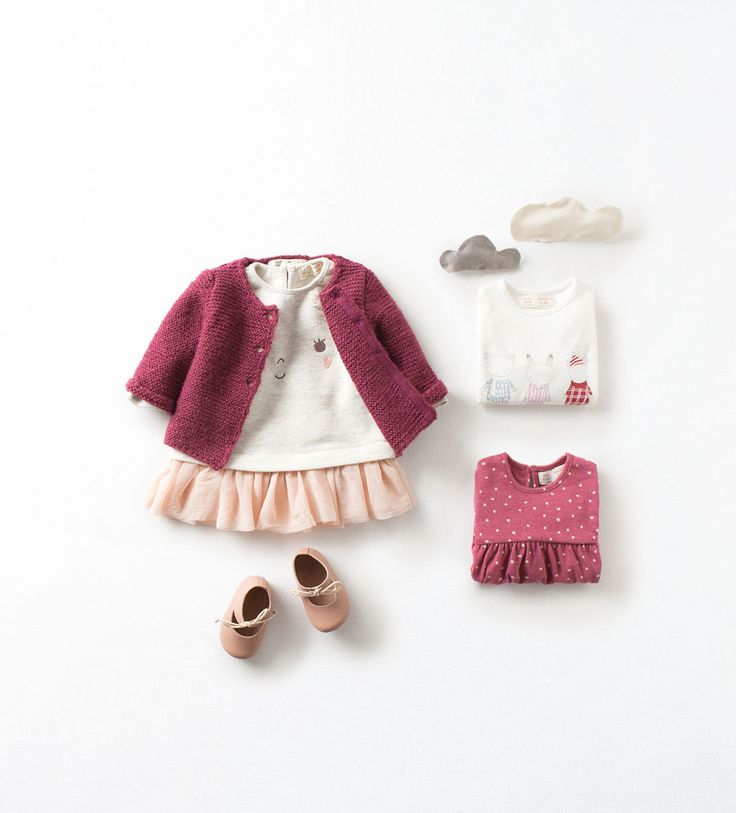 Zara Baby Girls Cardigan with Bunny Tee & Skirt