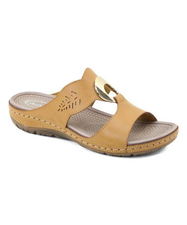 Camel Contrast-Seam Sandal