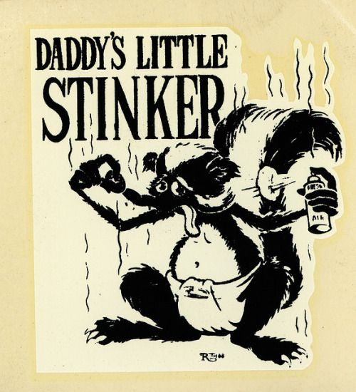 """daddys little stinker on Flickr. Daddy's Little Stinker Ed """"Big Daddy"""" Roth water slide decal. Drawn by Robt. Williams."""