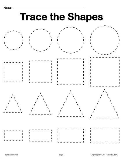 FREE tracing shapes worksheet - circles, squares, triangles, and rectangles plus two additional shapes tracing worksheets included! Get all three here --> http://www.mpmschoolsupplies.com/ideas/7559/3-free-shapes-tracing-worksheets-smallest-to-largest/