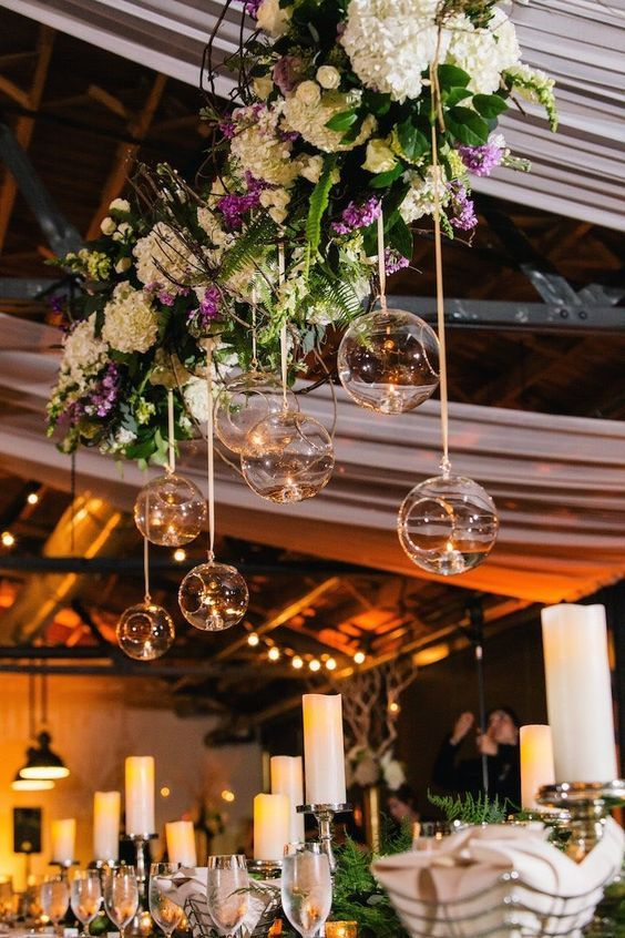 Magical wedding reception decor / http://www.himisspuff.com/rustic-indoor-barn-wedding-reception-ideas/6/