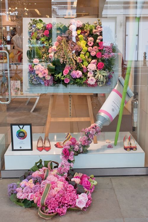 Images of LK Bennett's shop window for Chelsea in Bloom 2014, created by Jacqui Arnold of Simply Flowers. They received the Bronze Award.