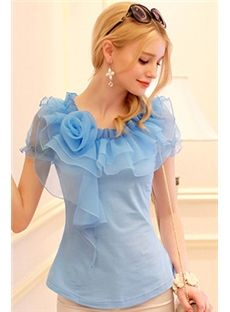 Cool Solid Color Organza Falbala Short Sleeve Slim Blouse