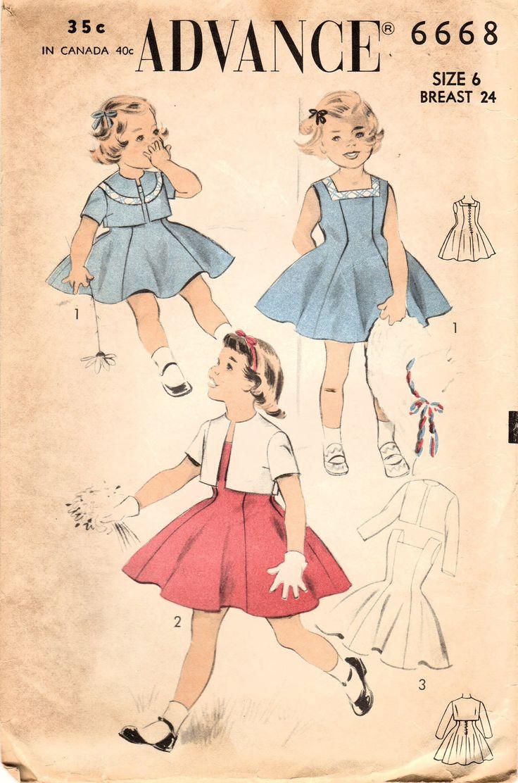 1950s Advance 6668 Vintage Sewing Pattern Girls Party Dress, Princess Dress, Jumper, Cropped Jacket, Bolero Size 6 by midvalecottage on Etsy