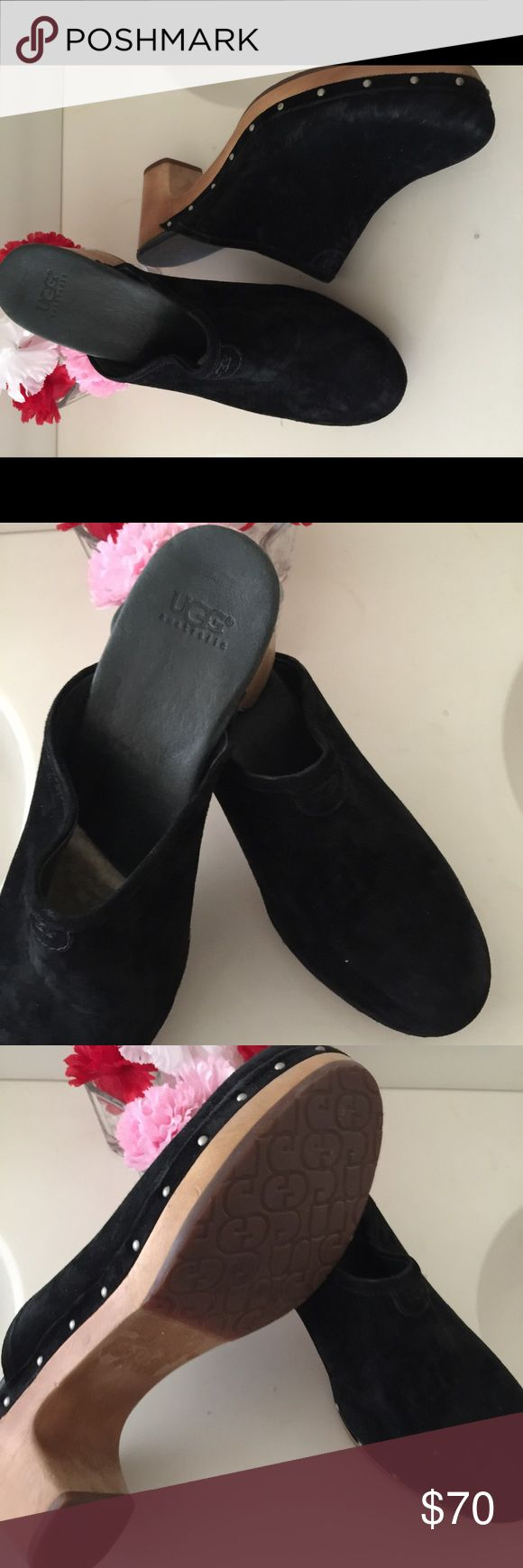 """UGG Clogs Women's 'Kay Suede' from UGG in excellent condition. Vintage style mavens will appreciate this luxe update to the traditional clog. Crafted from rich leather and sitting on a classic bass wood sole, the Kay provides timeless comfort through a cushioning insole and added arch support. In hard to find size:12  Color:Black.   Suede Added arch support PORON® insole Leather and sheepskin insole lining Bass wood midsole Rubber outsole 2 ¾"""" heel UGG Australia Shoes Mules & Clogs"""