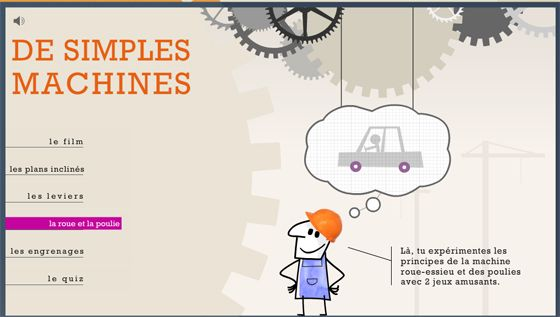 De simples machines : roue, levier, poulie, engrenage, plan incliné |