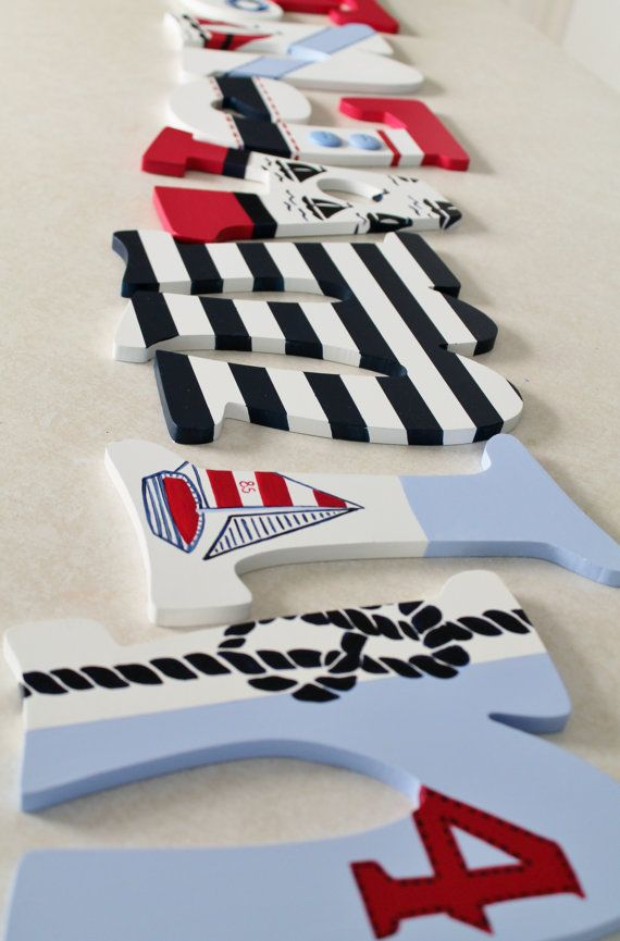 Pottery Barn Regatta Red Navy and White Themed Letters by KraftinMommy