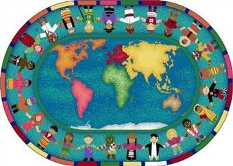 Hands Around The World Classroom Rug 5u00274 X 7u00278 Oval
