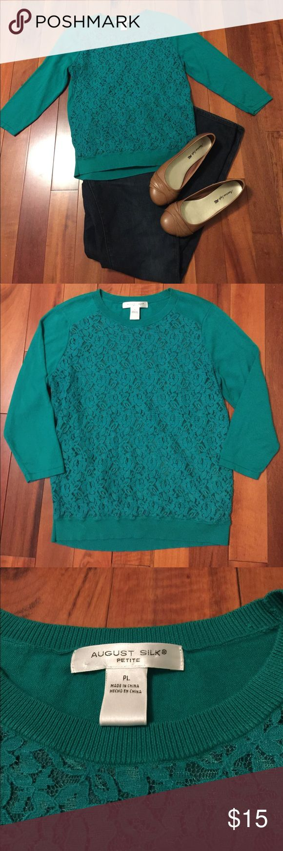 August Silk Green Lace Sweater Gorgeous Green Lace front sweater by August Silk!  Great for fall and into the holiday season!  Petite size L, excellent used condition.  Shown paired with Banana Republic jeans from my closet.  Make me an offer! August Silk Sweaters