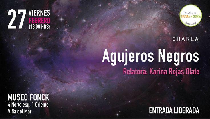"Este viernes 18 horas presentamos ""Agujeros Negros"" en @museofonck Expone Karina Rojas de @uvalpochile"