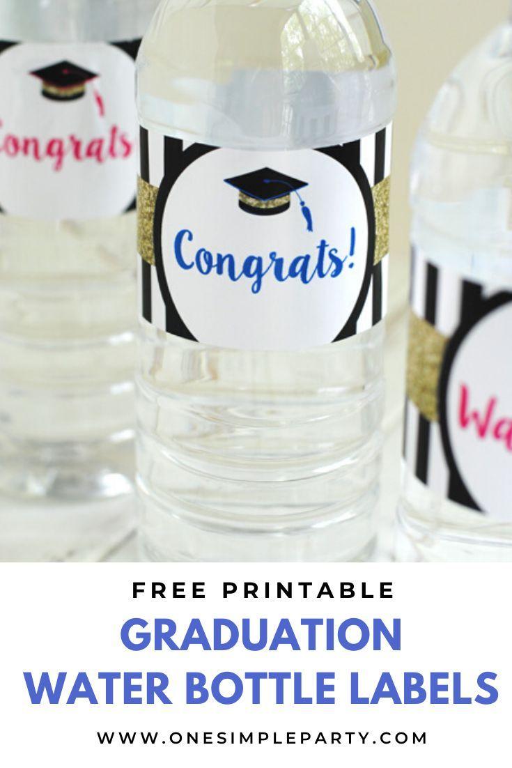 CUSTOM Printable Water Bottle Labels YOU print DIY water bottle labels Graduation Photo Water Bottle Labels you cut