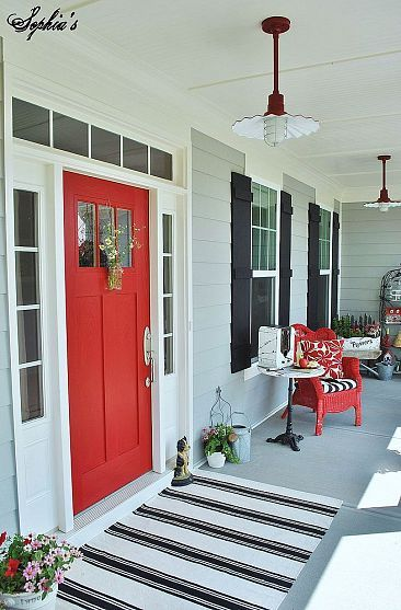 Farmhouse Style Front Porch With Pops of Red (I love, love this color theme for the outside of a house!)