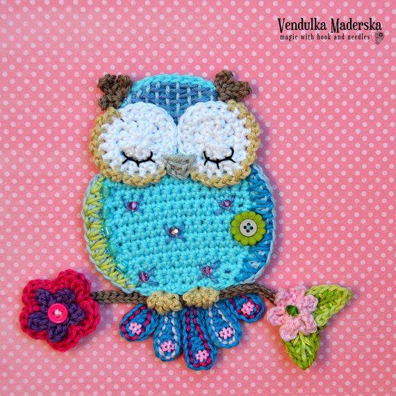 Crochet pattern – owl applique – by VendulkaM crochet, digital pattern DIY, pfd