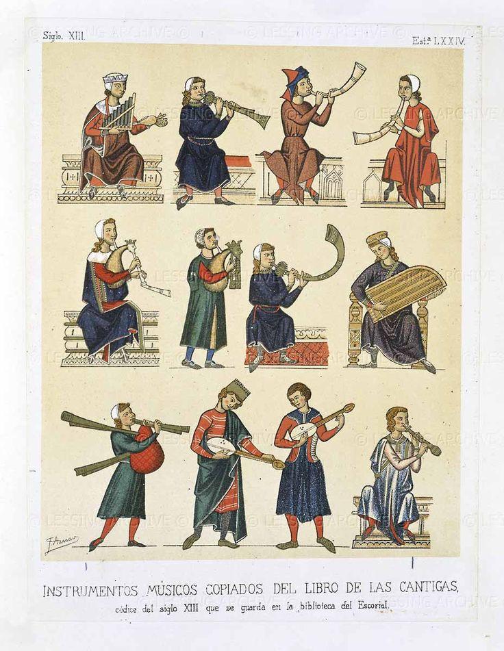 Musical instruments. Cantigas de Santa Maria.