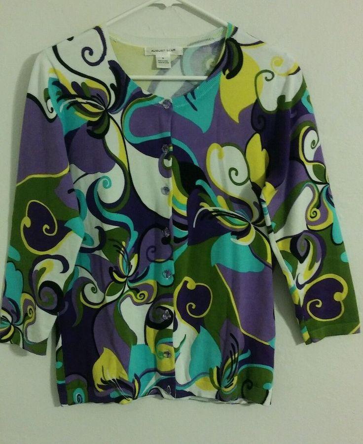 August Silk Size M Multi Color Cardigan 3/4 Sleeve Sweater Aqua Purple Buttons…