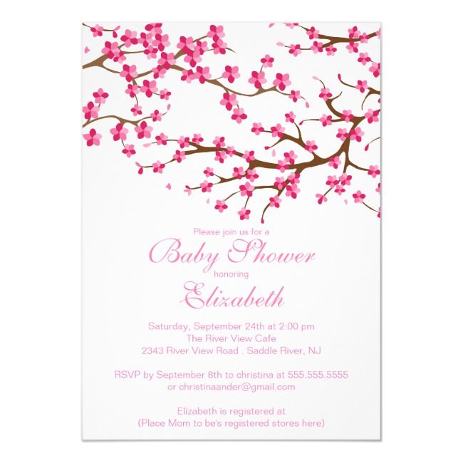 Pretty Pink Cherry Blossom Floral Baby Shower Invitation #baby #shower #mother #motherhood #family #party #baby #pregnant