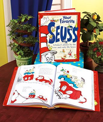 Your Favorite Seuss Treasury Book Here are all the favorite, classic Dr. Seuss stories in one beautiful treasury! This bound volume includes 13 of his most beloved classics, ranging from his first book to his last. The stories feature well-known characters such as the Cat in the Hat, the Grinch, Horton and the Lorax. All the words and almost all the illustrations are included. Book also includes essays, insights, and photos of and about Dr. Seuss himself. $15.95
