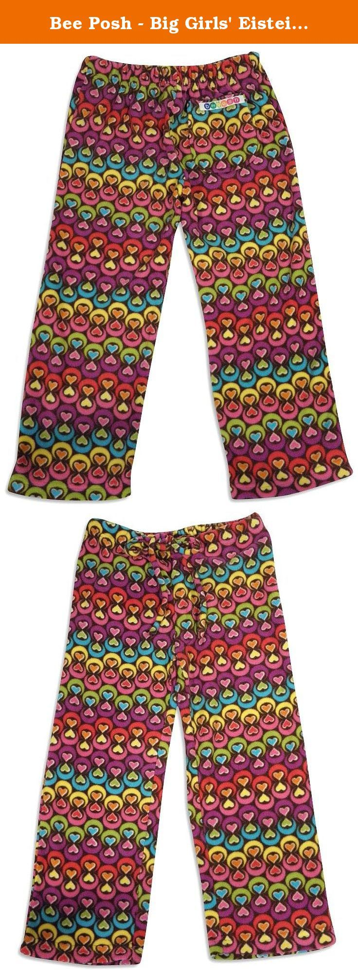 Bee Posh - Big Girls' Eistein Hearts Cozy Fleece Pajama Pant, Brown, Multi 25518-X-Large. Feel The Comfort In Style with these elastic back waistband pajama pant and a drawstring front, They have a single back pocket, Made of 100% flame resistant polyester in China, Size XS = 4-6 S = 7-8 M = 10-12 L= Kids 14/Adult Small XL = Kids 16/Adult Medium.