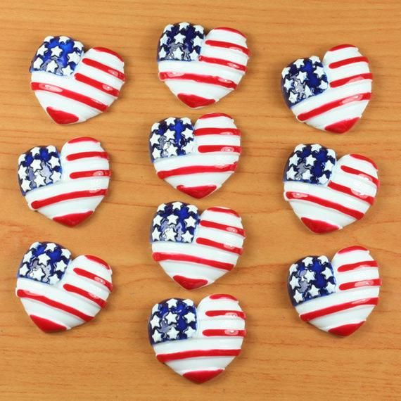 set 10/50/100 American Flag Hearts Stars US Independant Day Patriotic Resin Cabochon Flatbacks Flat