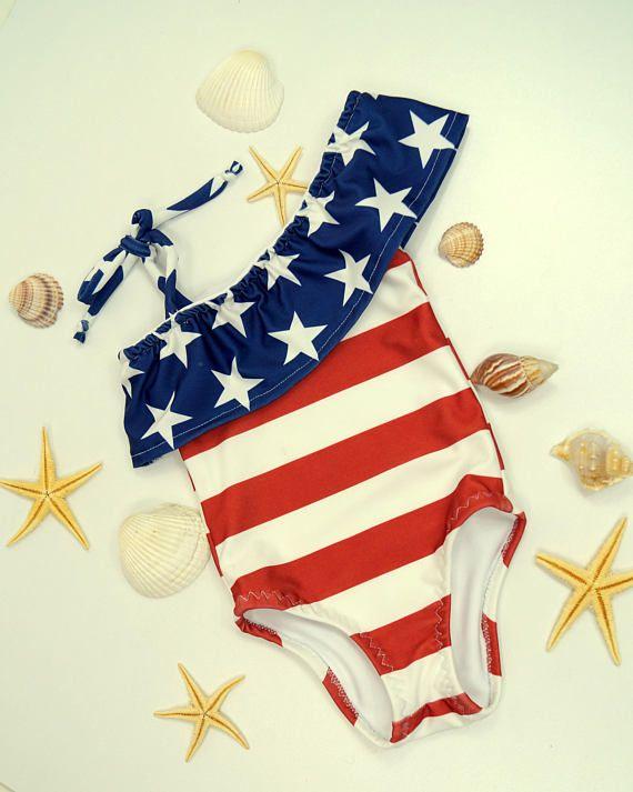 f7cc83b14 USA flag Girls swimsuit/American Flag baby girl swimsuit/Girls swimwear/Kids  flag bikini set/Toddler swimsuits/Girls bikini/4th July