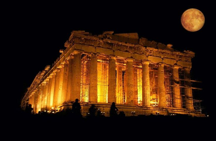 Acropolis and moon, same color same magic