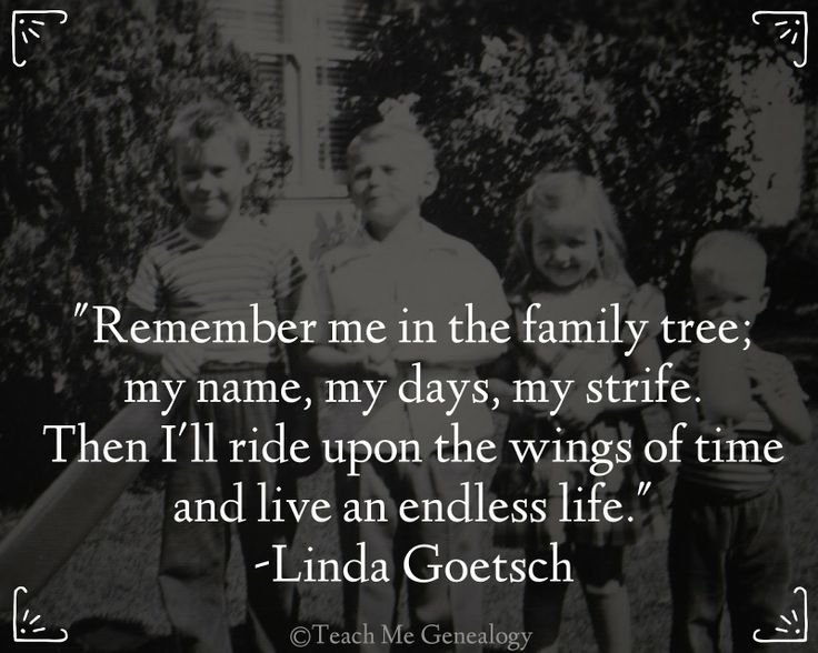 """""""Remember me in the family tree; my name, my days, my strife. Then I'll ride upon the wings of time and live an endless life."""" -Linda Goetsch (Teach Me Genealogy)"""