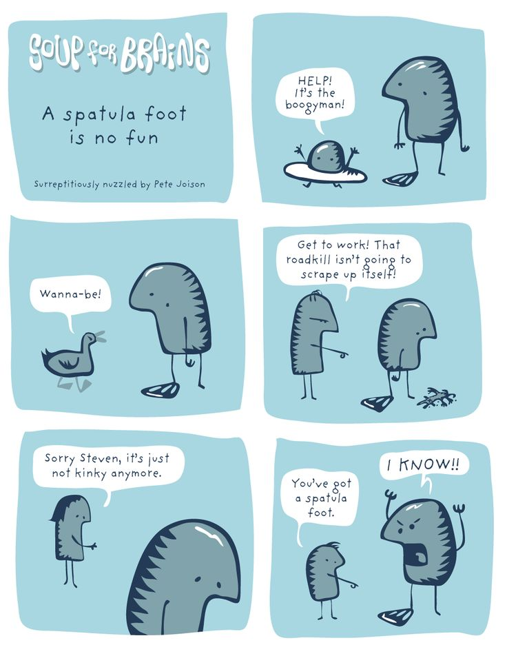 Soup for Brains - A spatula foot is no fun #weird #webcomic #humor