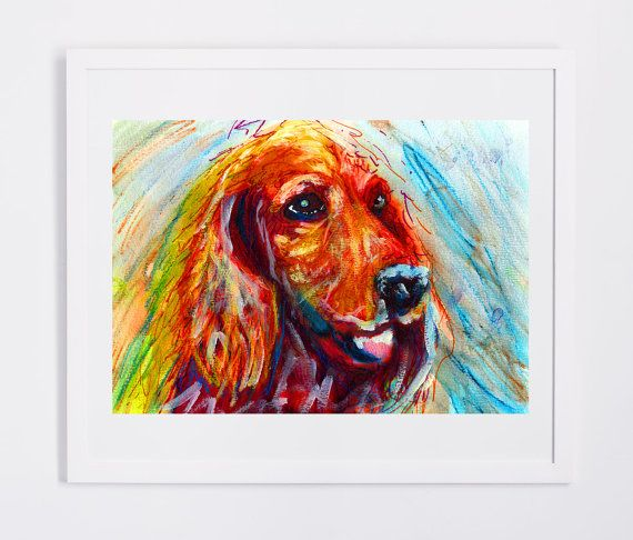 Golden Cocker Spaniel, Dog Painting, Dog portrait, art print, yellow orange…